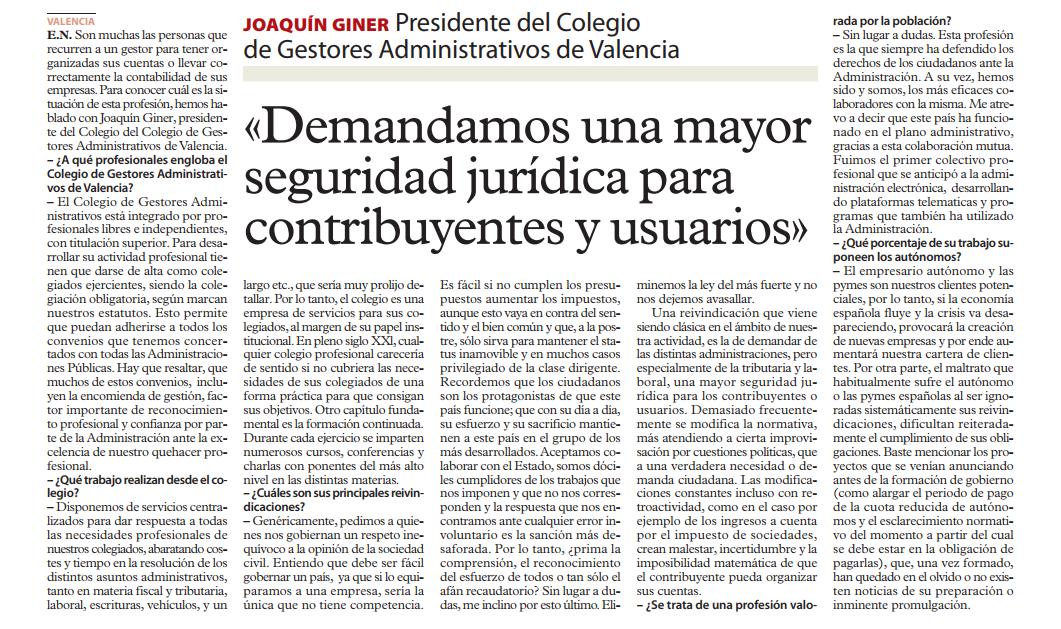 Entrevista a D. Joaquín Giner, presidente del Colegio de gestores administrativos de Valencia