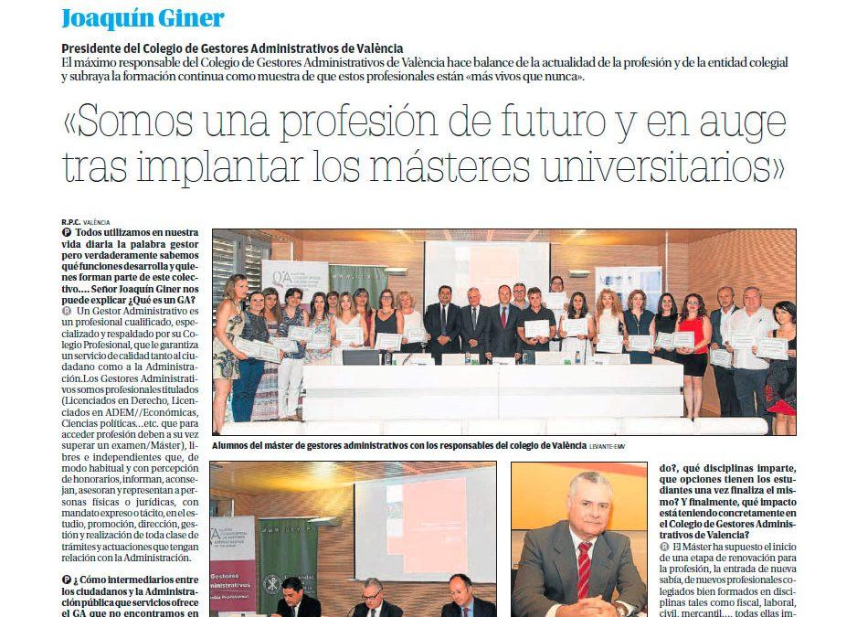 Entrevista a Joaquín Giner, Presidente del Colegio de gestores administrativos de Valencia