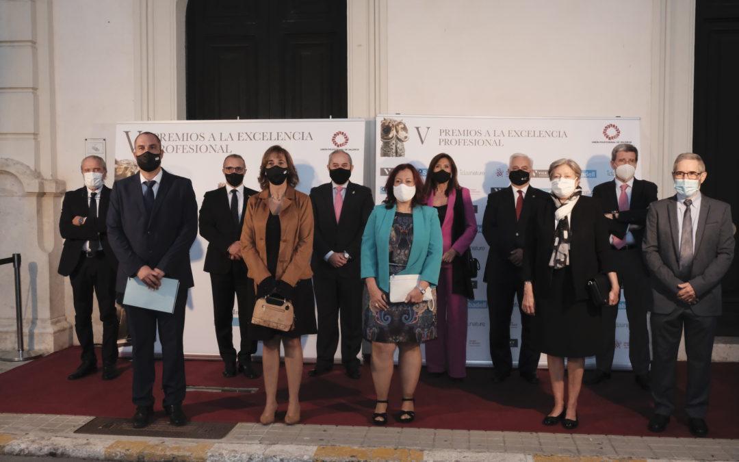 El Colegio de Gestores Administrativos asiste a la entrega de los Premios a la Excelencia de la Unión Profesional de Valencia